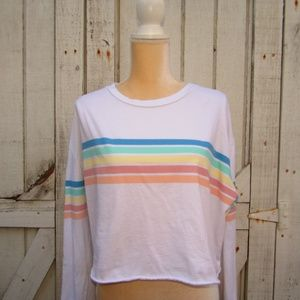 FRENCH PASTRY rainbow l/s tee white pastels sz XL